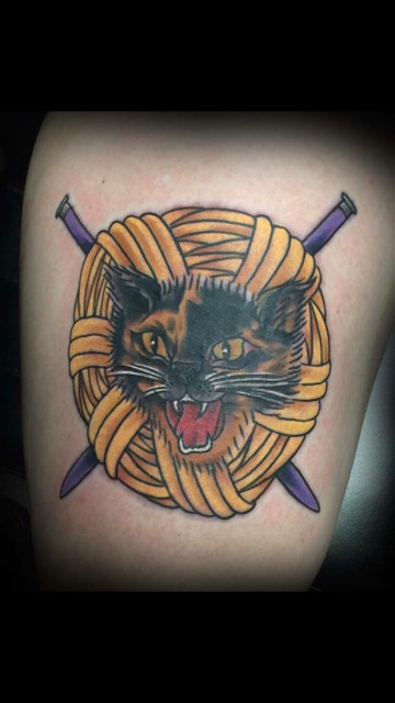 American Traditional Cat Tattoo