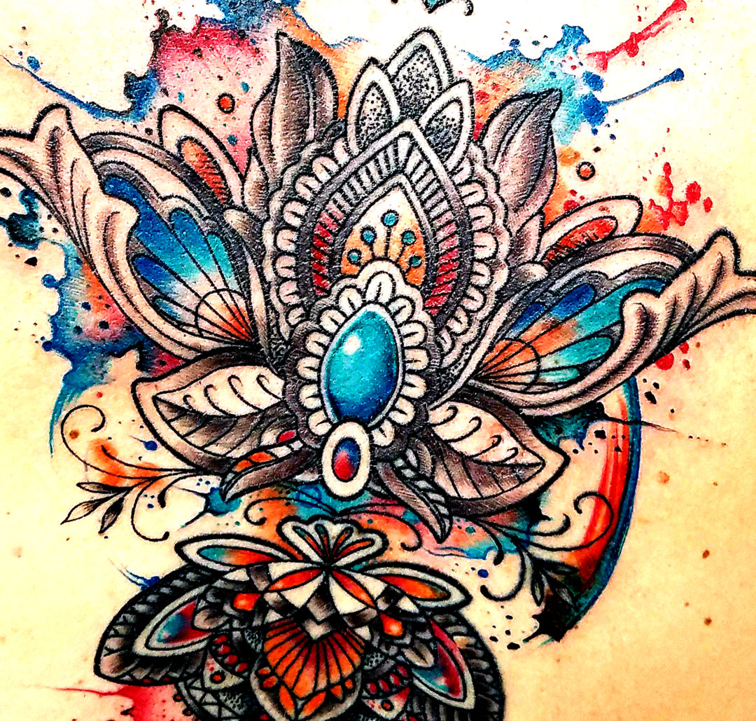 Watercolor Tattoo Back Decoration