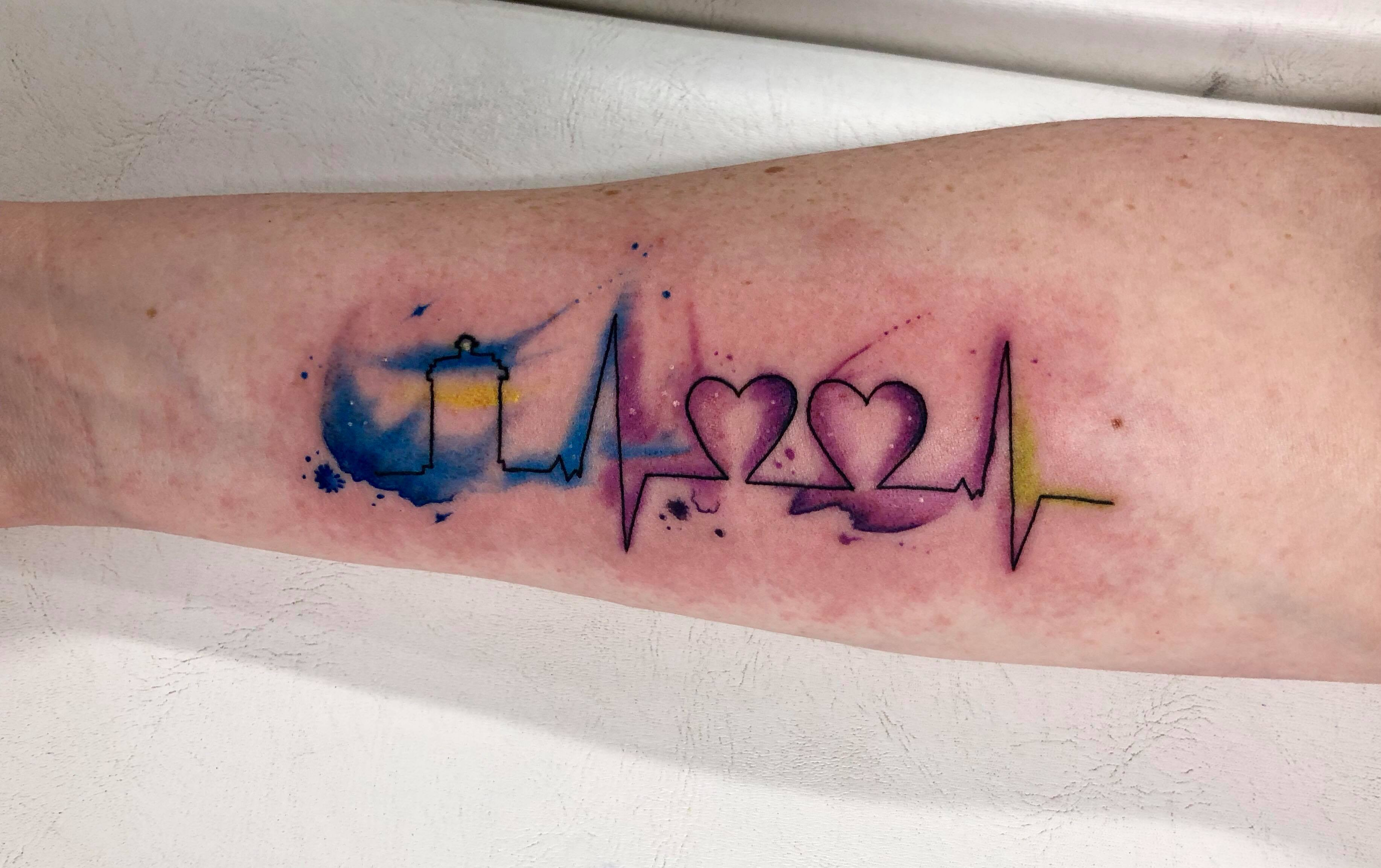 Image result for watercolor heartbeat tattoo