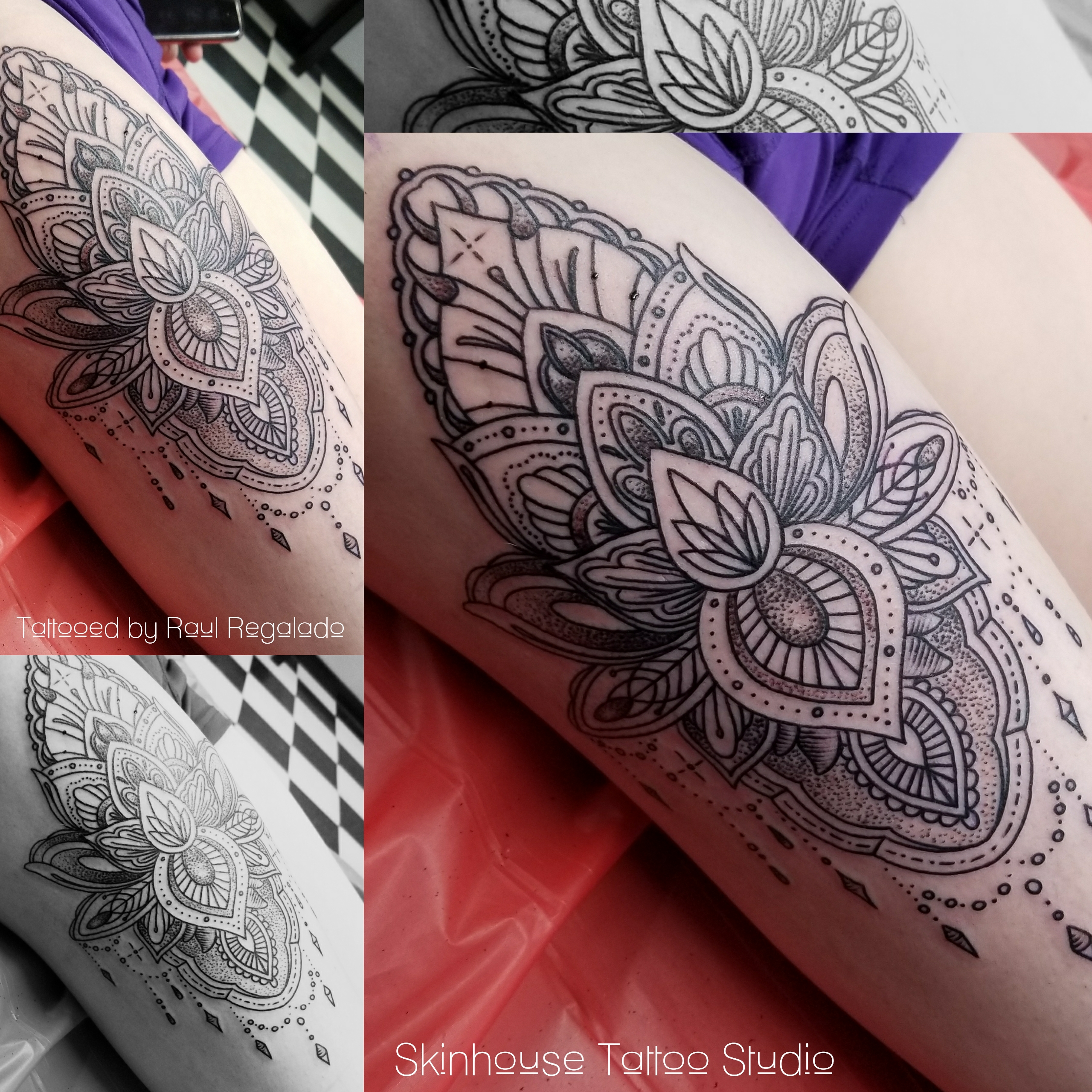 Linear Decorative Thigh Piece Longmont Colorado Tattoo Shop