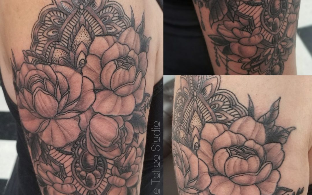 Peonies and Deco Tattoo
