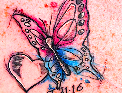 Water Color Butterfly Tattoo Longmont